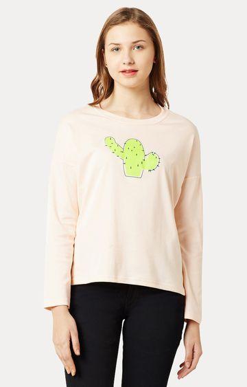 MISS CHASE | Peach Round Neck Printed Sweatshirt