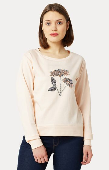MISS CHASE | Peach Round Neck Solid Floral Sequined Patch Boxy Sweatshirt