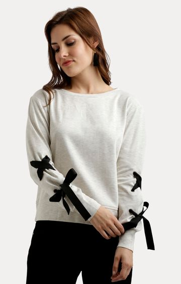 MISS CHASE   Off White Solid Criss Cross Detailing Sweatshirt
