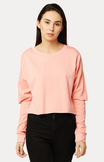MISS CHASE   Peach Solid Cut Out Sweatshirt
