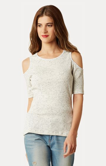 MISS CHASE   Off White Printed Ribbed Cold Shoulder Textured Top