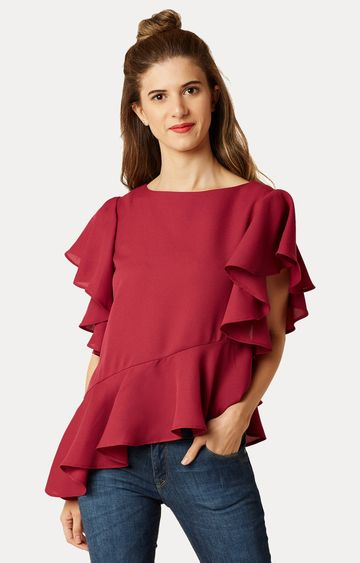 MISS CHASE | Maroon Flared Solid High-Low Ruffled Top