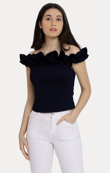MISS CHASE | Navy Blue Off Shoulder Solid Ruffled Frilled Gathered Bardot Top