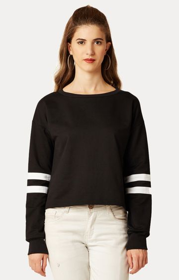 MISS CHASE   Black Round Neck Solid Panelled Boxy Top