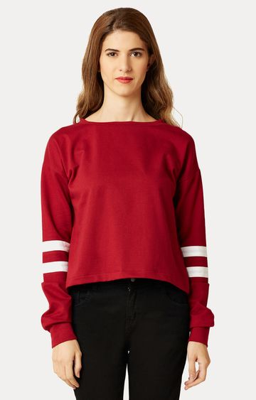 MISS CHASE | Red Round Neck Solid Panelled Boxy Top
