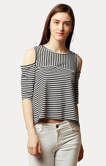MISS CHASE   Black and White Striped Cold Shoulder Top