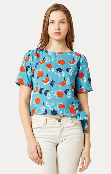 MISS CHASE | Turquoise Floral Round Neck Gathered Belted Tie-Up Top