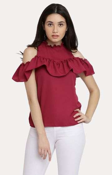 MISS CHASE | Maroon Solid Round Neck Ruffled Gathered Frilled Cold Shoulder Top
