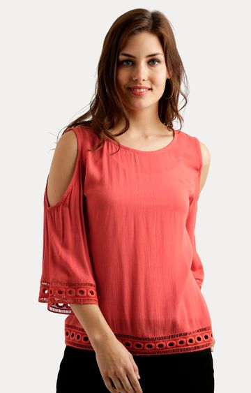 MISS CHASE   Coral Solid Lace Cold Shoulder Top