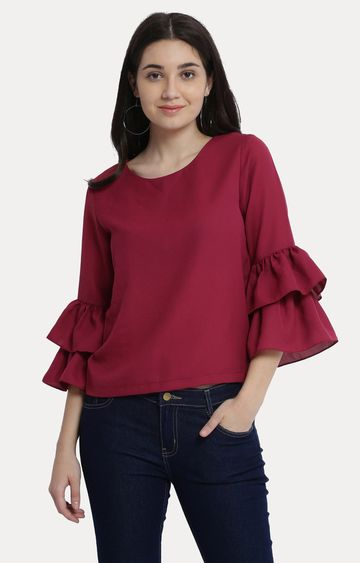 MISS CHASE | Maroon Round Neck Solid Frilled Ruffled Top