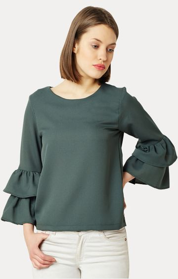 MISS CHASE | Green Round Neck Solid Frilled Ruffled Top