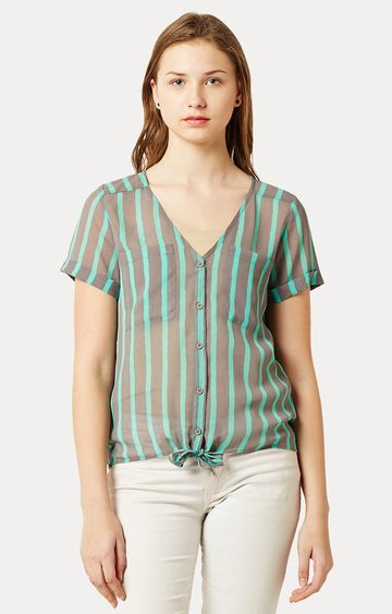 MISS CHASE | Mint and Grey V Neck Buttoned Striped Tie-Up Top