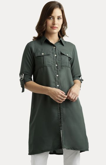 MISS CHASE | Green Solid Knee-Long Buttoned Shirt