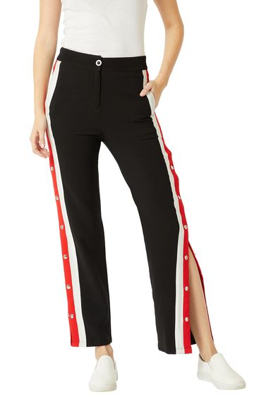 MISS CHASE | Black Solid Button Detailing Slitted Trouser