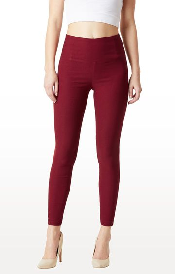 MISS CHASE | Maroon Solid High Waist Regular Length Patch Pocket Jeggings