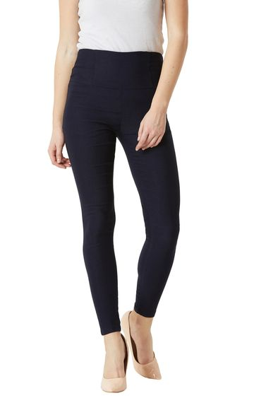MISS CHASE | Navy Blue Solid High Waist Patch Pocket Jeggings