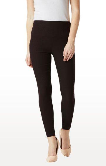 MISS CHASE | Black Solid High Waist Patch Pocket Regular Length Jeggings