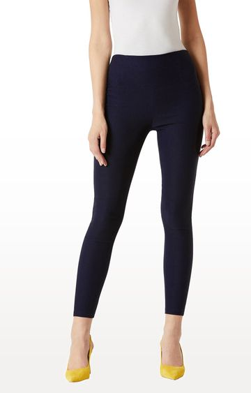 MISS CHASE | Navy Solid High Waist Patch Pocket Regular Length Jeggings