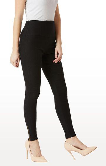 MISS CHASE | Black Solid High Waist Patch Pocket Zipper Detailing Regular Length Jeggings