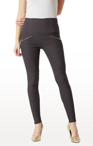 MISS CHASE | Dark Grey Solid High Waist Regular Length Zipper Detailing Jeggings