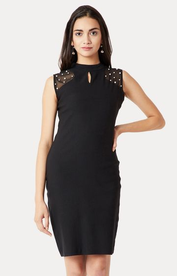 MISS CHASE   Black Solid Pearl Sheer Bodycon Dress
