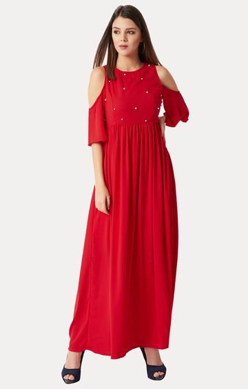 MISS CHASE   Red Solid Cut Out Pearl Detailing Gathered Maxi Dress