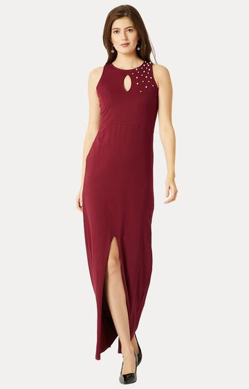 MISS CHASE | Maroon Solid Embellished Bodycon Maxi Dress
