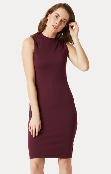 MISS CHASE   Wine Solid Semi Sheer Detailing Bodycon Dress