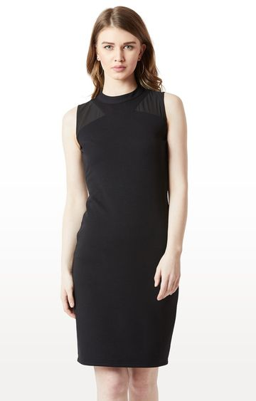 MISS CHASE   Black Solid Bodycon Dress