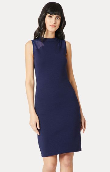 MISS CHASE   Navy Blue Solid Semi Sheer Detailing Bodycon Dress