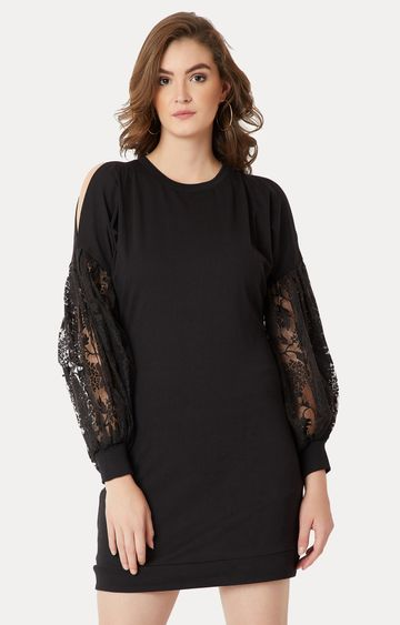 MISS CHASE | Black Solid Lace Detailing Shift Dress