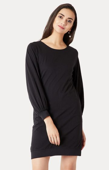 MISS CHASE | Black Balloon Style Solid Gathered Shift Dress