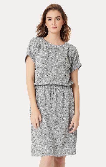 MISS CHASE | Grey Melange Paneled Shift Dress