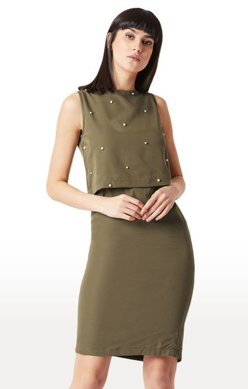 MISS CHASE | Olive Solid Peplum Dress
