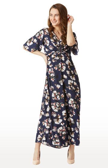 MISS CHASE   Navy Floral Maxi Dress