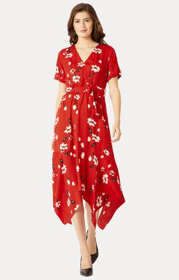 MISS CHASE   Red Floral Asymmetric Dress