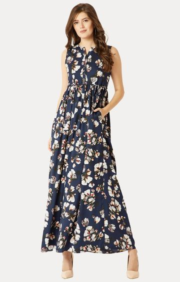 MISS CHASE | Blue Floral Belted Gathered Tie Up Maxi Dress