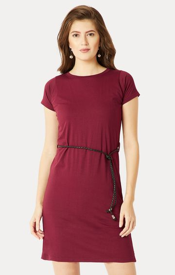 MISS CHASE | Maroon Short Sleeve Solid Belted Shift Dress
