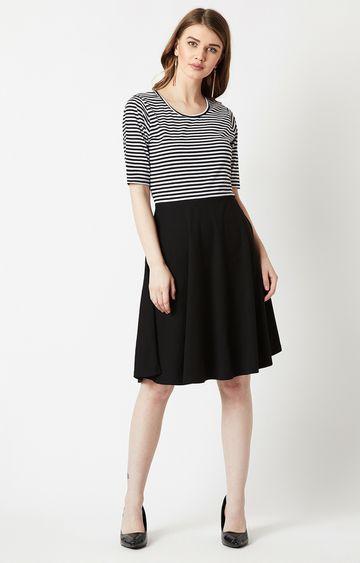 MISS CHASE | Black Striped Skater Dress