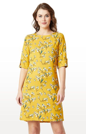 MISS CHASE   Yellow Floral Knee Long Shift Dress