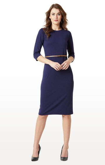 MISS CHASE   Navy Solid Belted Bodycon Midi Dress