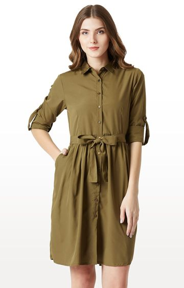 MISS CHASE   Olive Solid Shirt Dress