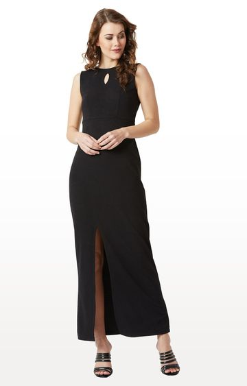 MISS CHASE | Black Solid Bodycon Slit Detailing Maxi Dress