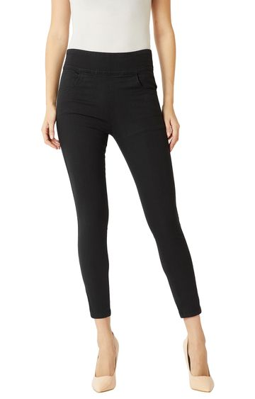 MISS CHASE | Black Solid High Rise Zipper Detailing Stretchable Jeggings