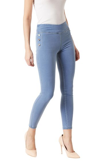 MISS CHASE | Light Blue Solid High Rise Button Detailing Stretchable Jeggings