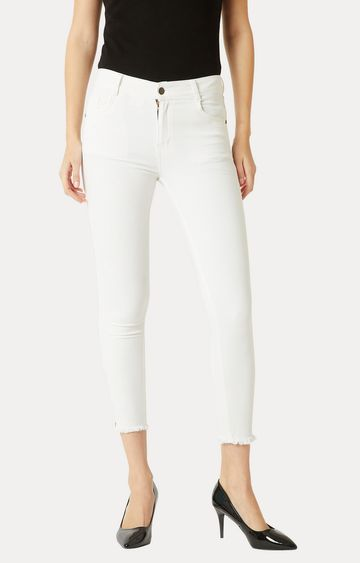 MISS CHASE   White Clean Look Stretchable Cropped Jeans