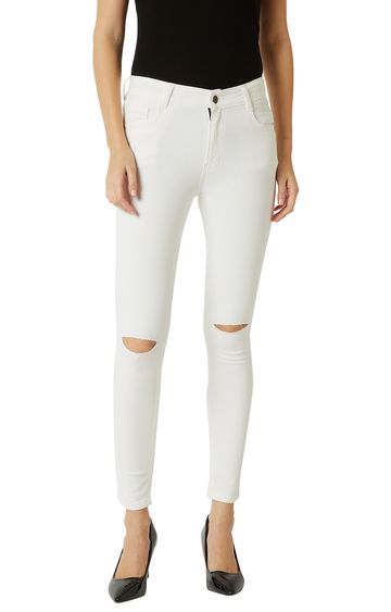 MISS CHASE   White Solid Mid Rise Knee Slit Stretchable Cropped Jeans