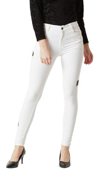 MISS CHASE | White Solid High Rise Embroidered Patch Straight Jeans