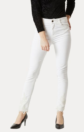 MISS CHASE   White Clean Look Lace Detailing Stretchable Jeans