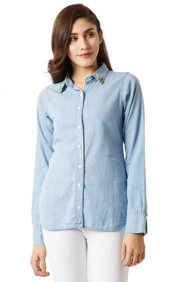 MISS CHASE | Blue Solid Flap Detailing Embellished Denim Shirt